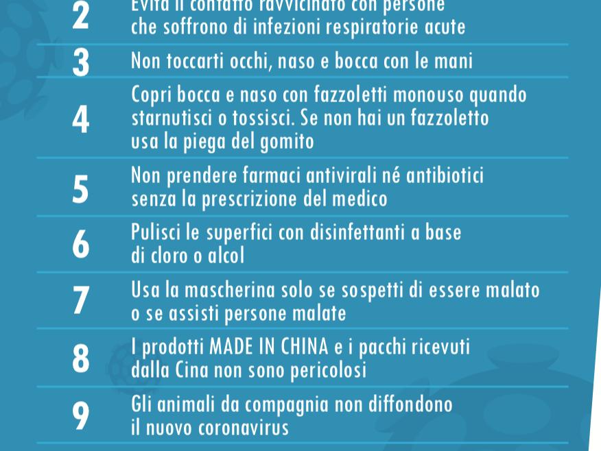 Coronavirus 10 comportamenti da seguire